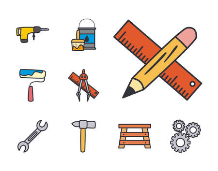 line and fill style set icons design of Construction working maintenance workshop repairing progress labor and industrial theme Vector illustration