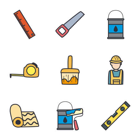 line and fill style icon set design of Construction working maintenance workshop repairing progress labor and industrial theme Vector illustration
