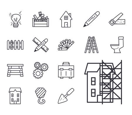 line style collection of icons design of Construction working maintenance workshop repairing progress labor and industrial theme Vector illustration