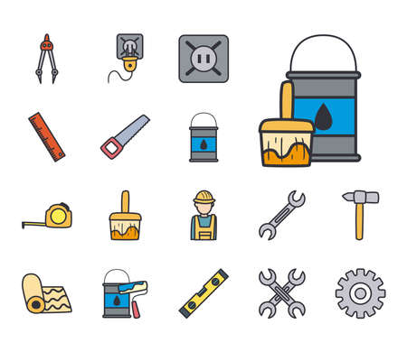 line and fill style set of icons design of Construction working maintenance workshop repairing progress labor and industrial theme Vector illustration