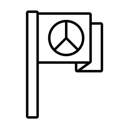 flag with peace symbol icon over white background, line style, vector illustration