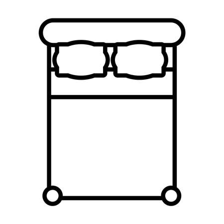 top view of double bed icon over white background, line style, vector illustration