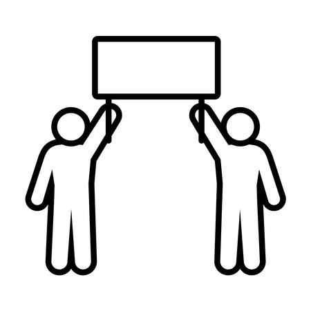 pictogram men holding up a sign over white background, line style, vector illustration