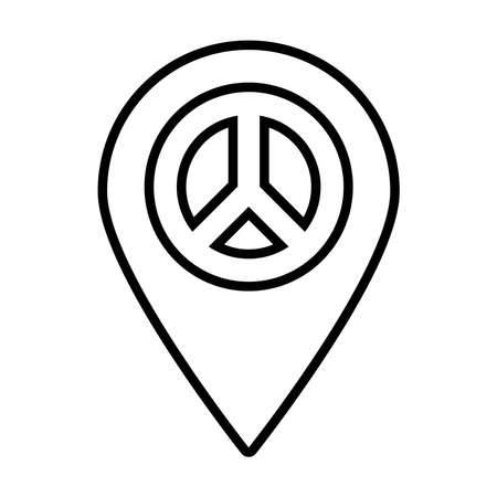 location pin with peace symbol icon over white background, line style, vector illustration