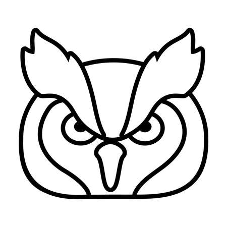 owl face icon over white background, line style, vector illustration