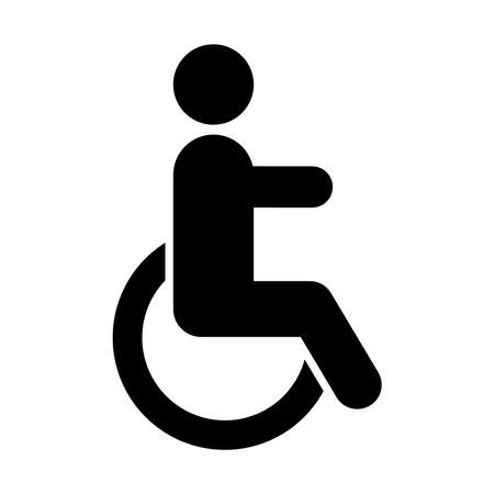 wheelchair symbol icon over white background, silhouette style, vector illustration 矢量图片