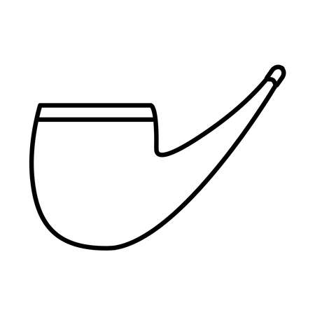 smoking pipe icon over white background, line style, vector illustration