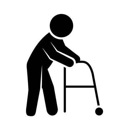 pictogram man with a walker icon over white background, silhouette style, vector illustration