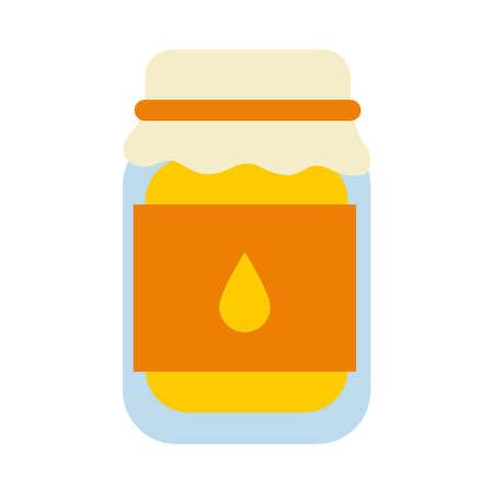 icon of honey jar icon over white background, flat style, vector illustration