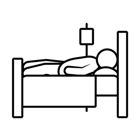 patient in hospital bed icon over white background, line style, vector illustration