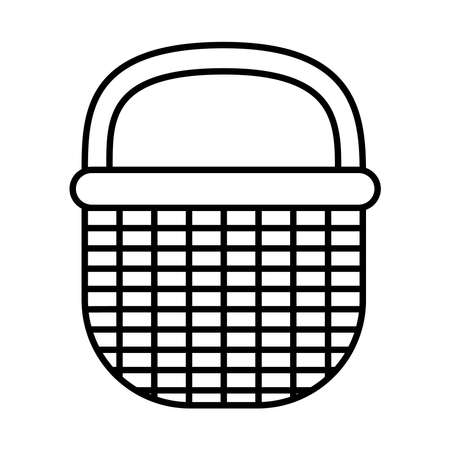 picnic basket icon over white background, line style, vector illustration