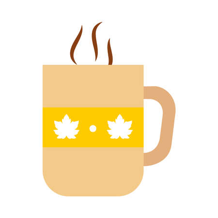 hot coffee mug with maple leaves design over white background, flat style, vector illustration
