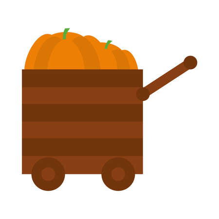 Pumpkins in a wooden cart icon over white background, flat style, vector illustration