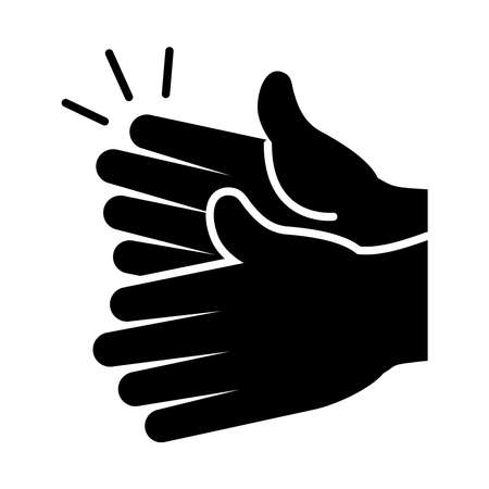hands clapping icon over white background, silhouette style, vector illustration