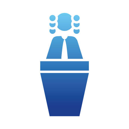 pictogram judge on a podium over white background, gradient style, vector illustration Ilustração