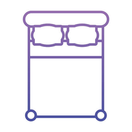 top view of double bed icon over white background, gradient style, vector illustration