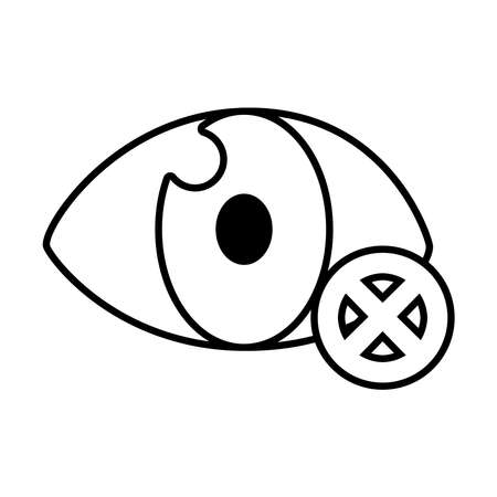 Blind symbol of an opened eye with forbidden sign over white background, line style, vector illustration