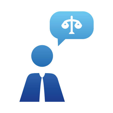 pictogram businessman with speech bubble with law scale icon over white background, gradient style, vector illustration