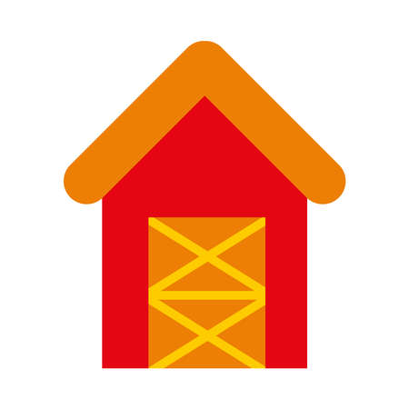 farm barn icon over white background, flat style, vector illustration Ilustração