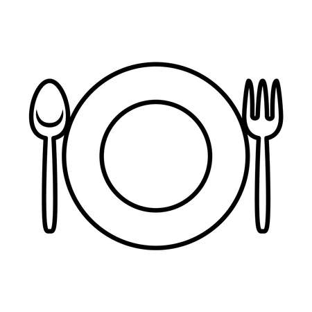 plate with fork and knife icon over white background, line style, vector illustration