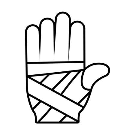 hand with bandages icon over white background, line style, vector illustration