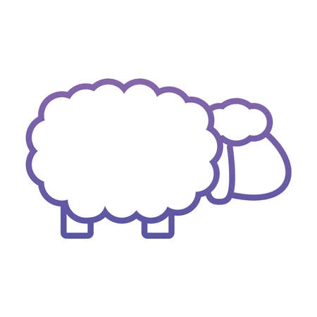 sheep icon over white background, gradient style, vector illustration