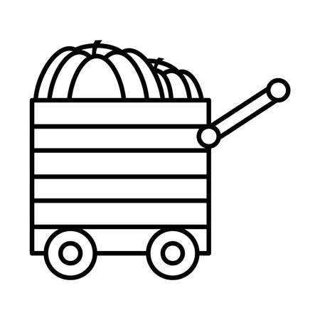 Pumpkins in a wooden cart icon over white background, line style, vector illustration