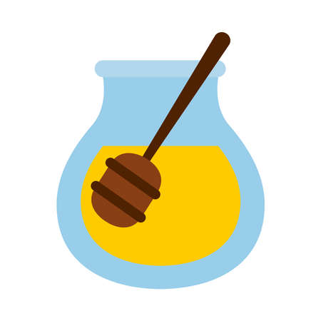 honey jar icon over white background, flat style, vector illustration Ilustração