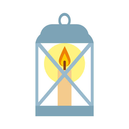 lantern icon over white background, flat style, vector illustration