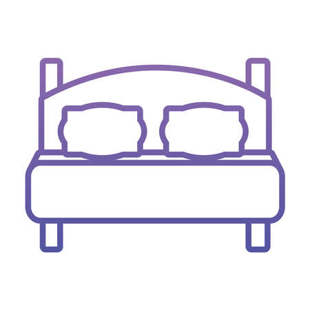 double bed icon over white background, gradient style, vector illustration Ilustração