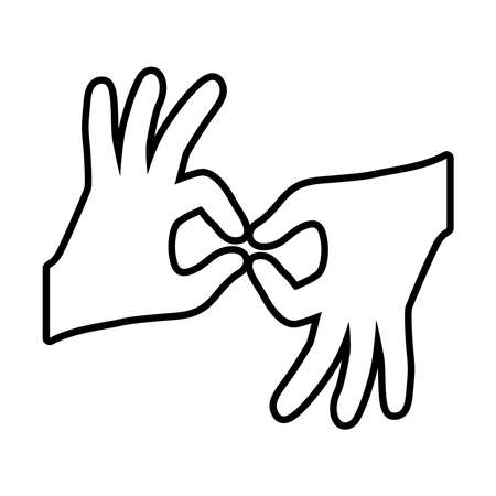 hands sign language icon over white background, line style, vector illustration