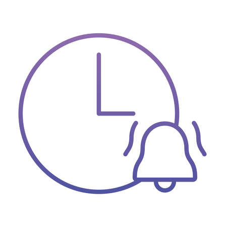 clock with alarm bell icon over white background, gradient style, vector illustration