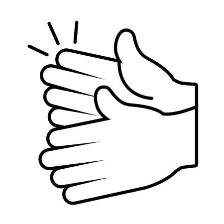 hands clapping icon over white background, line style, vector illustration