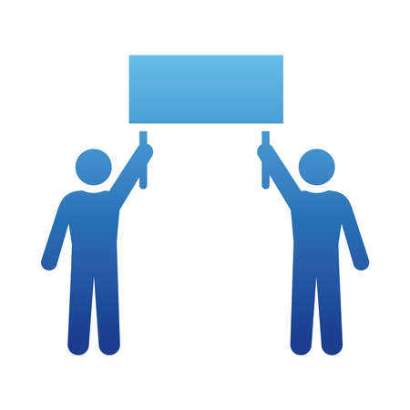 pictogram men holding up a sign over white background, gradient style, vector illustration Ilustração