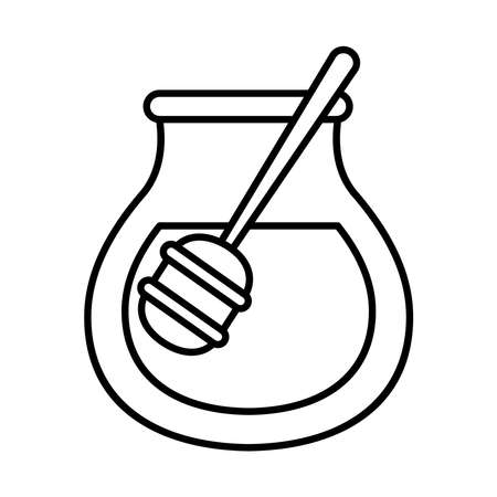 honey jar icon over white background, line style, vector illustration Ilustração