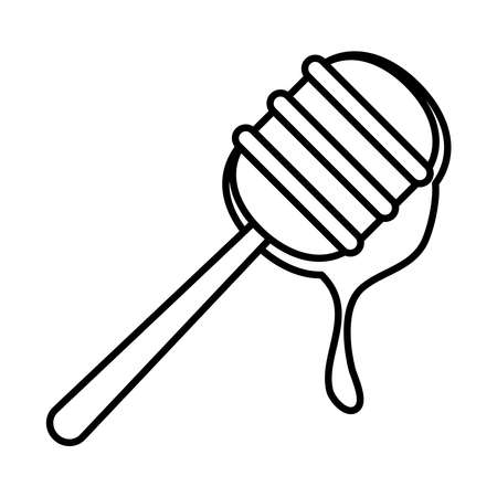 honey dipper icon over white background, line style, vector illustration