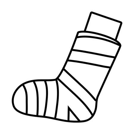 leg with bandage icon over white background, line style, vector illustration