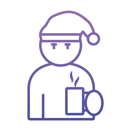 man with sleep hat and coffee mug icon over white background, gradient style, vector illustration Ilustração