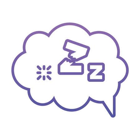 speech bubble with sleeping symbol over white background, gradient style, vector illustration 版權商用圖片 - 155567065