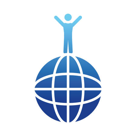 pictogram man on a global sphere over white background, gradient style, vector illustration