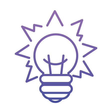 bright bulb light icon over white background, gradient style, vector illustration
