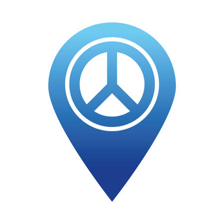 location pin with peace symbol icon over white background, gradient style, vector illustration