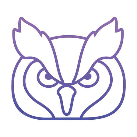 owl face icon over white background, gradient style, vector illustration