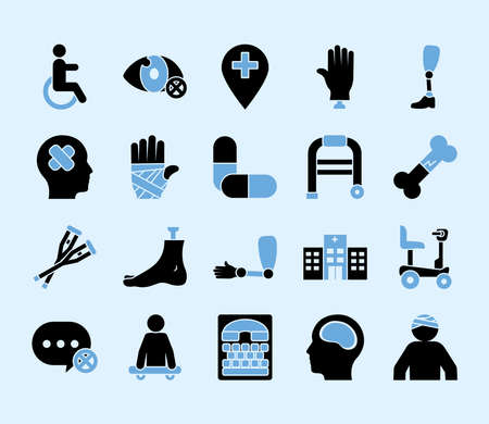 hand with bandages and disabilities icon set over blue background, silhouette style, vector illustration