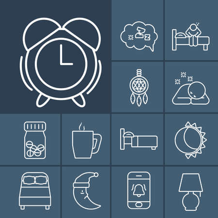 alarm clock and insomnia icon set over dark blue background, line style, vector illustration