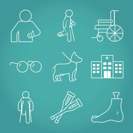 icon set of wheelchair and disabilities over turquoise background, line style, vector illustration