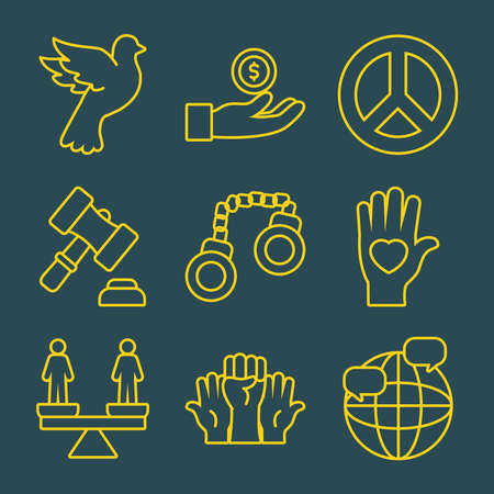 icon set of global sphere and human rights over green background, line style, vector illustration Çizim