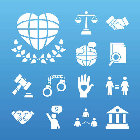law scale and human rights icon set over blue background, silhouette style, vector illustration