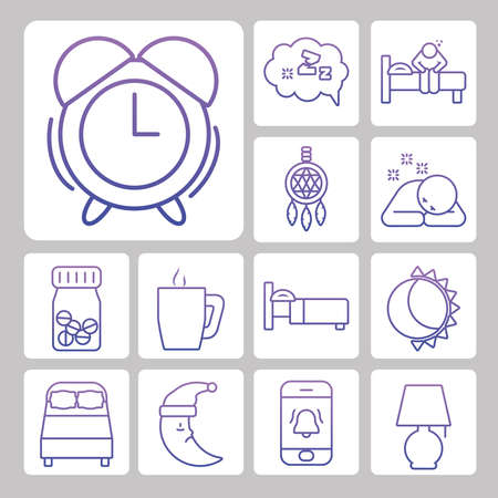 alarm clock and insomnia icon set over white background, gradient style, vector illustration