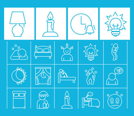 night lamp and insomnia icon set over blue background, line style, vector illustration